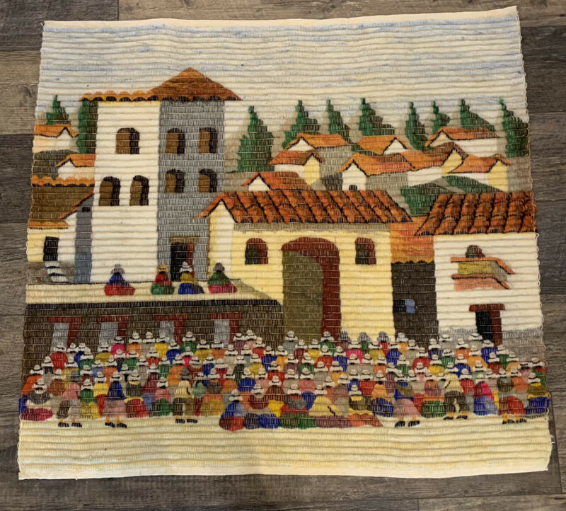 """Vintage Peruvian Wall Woven Wool Tapestry 38"""" X 36"""" Folk Art Village Scene"""