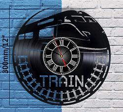 Vintage Train Decor Vinyl Record Wall Clock Travel Home Art Trains Room Badroom