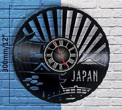Japanese Castle Vintage Vinyl Record Wall Clock Japan Home Decor Asian Art