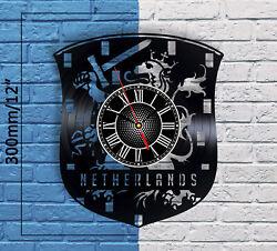 Netherlands Crest Vinyl Record Wall Clock Dutch Home Decor Flag Sign Holland Art
