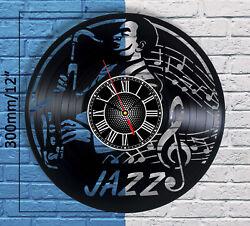 All That Jazz Vinyl Record Wall Clock Room Decor Music Modern Wall Art Saxophone