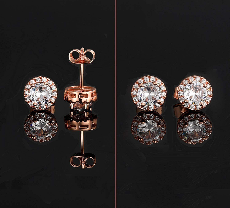 ELEGANT Earrings for Women 18k Rose Gold Plated Beautiful CZ Stud Earrings 2