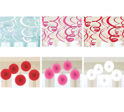 HAPPY VALENTINE Party Supplies ~ Hanging Swirl Decorations, Mini Paper Fan (Valentine Party Decorations)