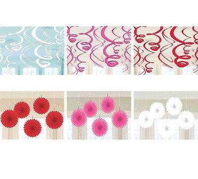 Mini Paper Fans (HAPPY VALENTINE Party Supplies ~ Hanging Swirl Decorations, Mini Paper Fan)