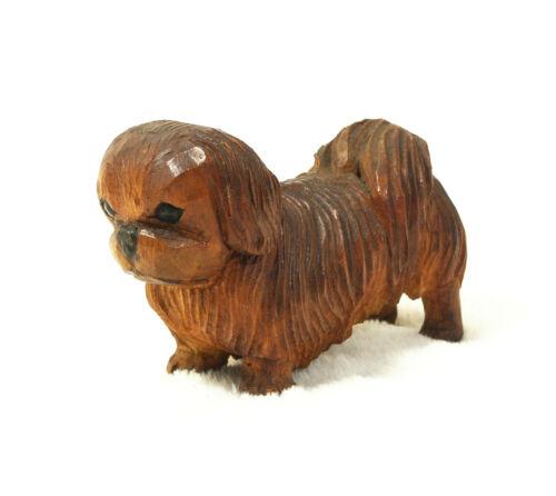 """Vintage ANRI Pekingese Dog Figurine Hand Carved Wood Italian 3"""" Long Sweet!"""