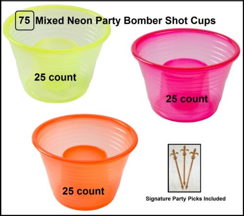 75-count Mixed NEON Plastic Party Bomber Shot Cups w/ party picks