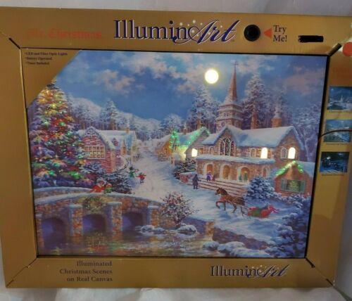 "New Mr. Christmas Illuminart Canvas Village 16"" x 12"" Winter Christmas Scene"