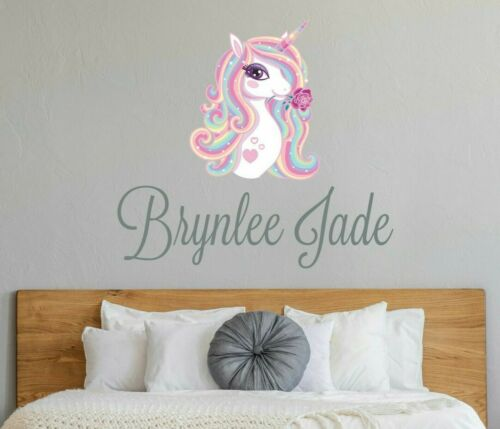CUSTOM NAME VINYL DECAL WITH GIRL UNICORN WALL STICKER