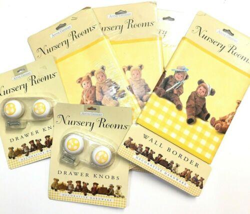 Anne Geddes Baby Nursery Wall Border Teddy Bear Unisex Drawer Pull Knobs Lot New