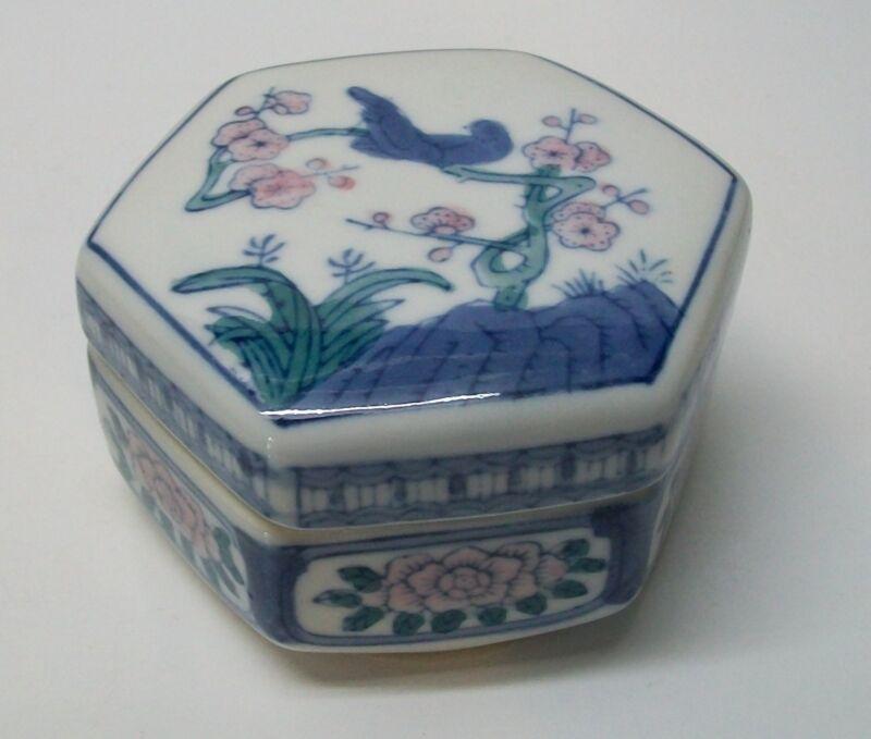Blue Birds Pink Flowers and Designs VintageTrinket Box Porcelain