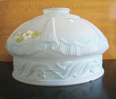 Vintage Hand Painted Frosted Blue Glass Lamp Shade