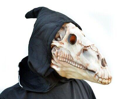 Halloween Costumes Skull Mask (Scary Halloween Bull Animal Horse Skull Mask Creature Hooded Ritual Costume)