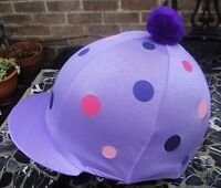 Riding Hat Silk Skull Cap Cover Lilac Pink Purple Polka Dot With Or W/o Pompom - affordable horseware - ebay.co.uk