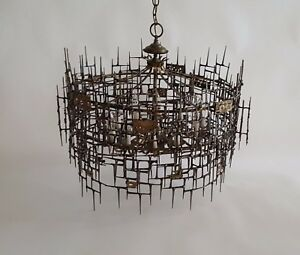 Monumental Brutalist Metal Chandelier Bronze Brass Jere  Bowie : brutalist lighting - azcodes.com