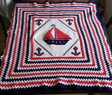 HANDMADE Crochet AFGHAN Knit THROW vtg Nautical BLANKET ...