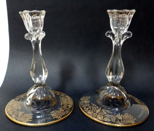 "EE106 PAIR OF VINTAGE ELEGANT GLASS CANDLESTICKS, etched gilt base 6"" high"
