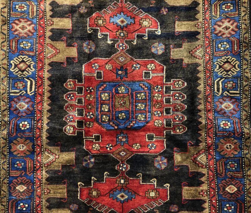 Terrific Tribal - 1940s Antique Oriental Rug - Nomadic Carpet - 4.4 X 6.1 Ft.