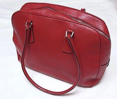 PRADA Vintage Red Cinghiale Leather Bauletto Bowler Handle Shoulder Bag