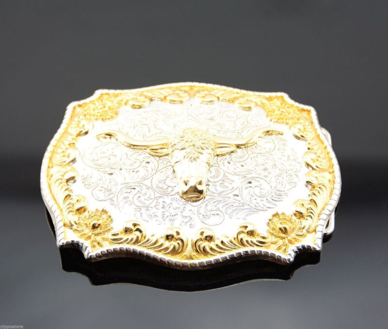 Gold & Silver Plated Longhorn Bull Western Cowboy Rodeo Metal Belt Buckle