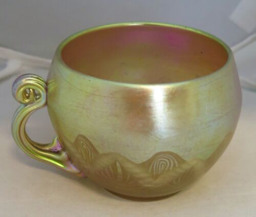 Tiffany Studios Favrile Art Glass Decorated Cup