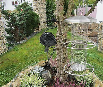Edelstahl Vogelfutterstation wetterbeständig zum Aufhängen Höhe 27,5cm 60129