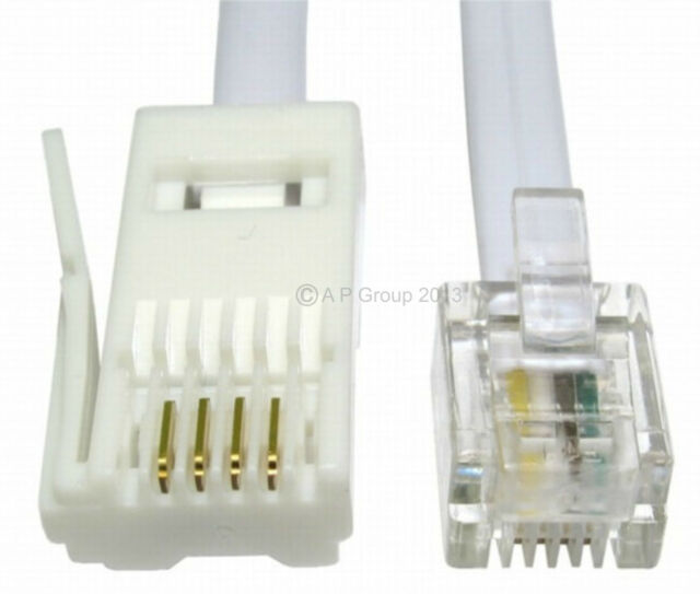 20m BT Phone Plug to Rj11 4 Pin Cable Telephone Modem Straight ...