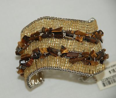 Arden B Cuff Bracelet NWT Wire Wrapped Cats Eye Stone Chips Beads Chunky Runway