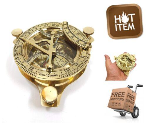 "4"" Brass Sundial Compass Anchor West London Etched Nautical Retro Decor"