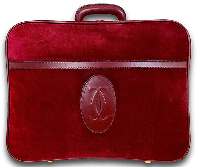 """CARTIER Must De Burgundy Suede Leather 17.75"""" Carry On Suitcase Luggage RARE"""