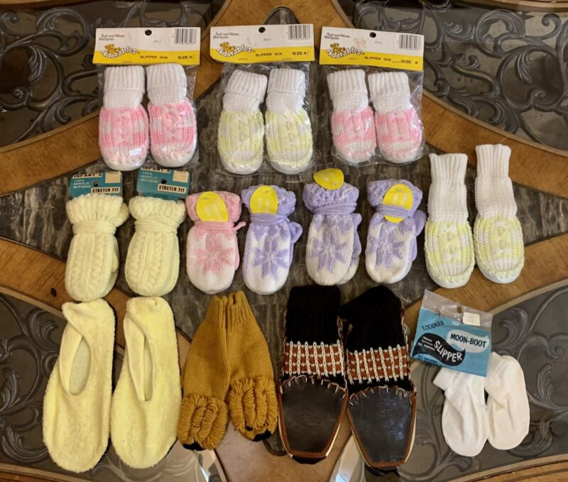 9 Vintage Slippers Mittens Moccasins Baby Kids 1970s LOT