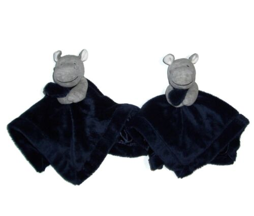 LOT OF 2 Carters Blue Grey Hippo Baby Blanket Soft Plush Satin Rattle Security