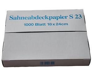 1000 Bg Sahneabdeckpapier 18x24cm, gewachst, fettdicht