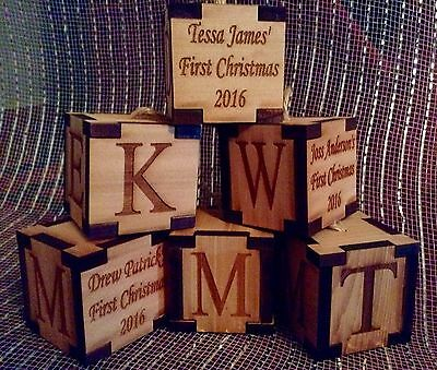 Wood Block Ornament (Engraved Wood Block Baby's First Christmas)