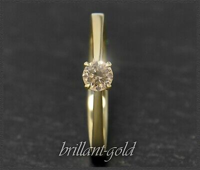 Diamant Damen Brillant Ring 0,30 ct, zart champagner; 585 Gold Solitärring NEU