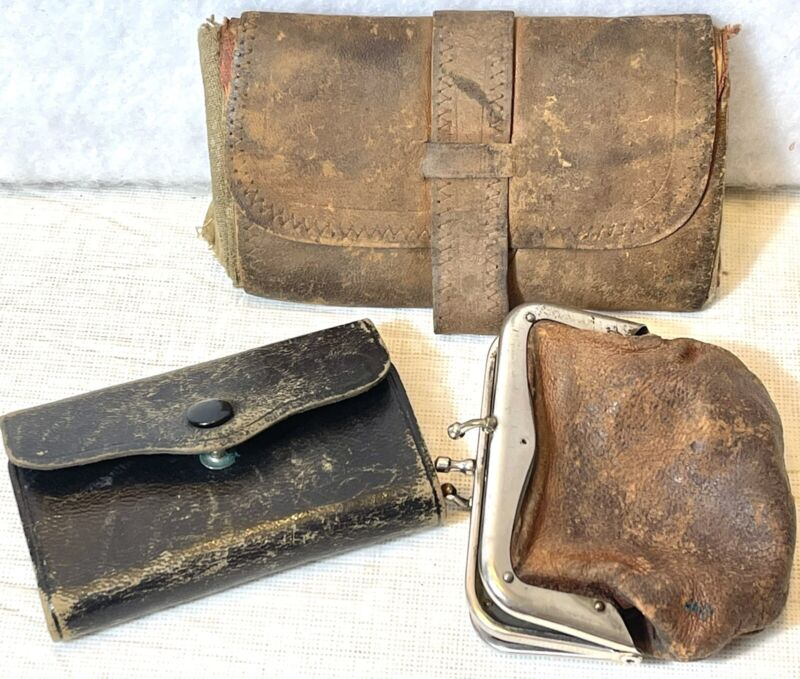 Lot of 3 Vintage Old Leather Coin Money Purses Pouches Wallets