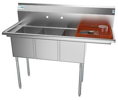 3 Compartment Nsf Stainless Steel Commercial Kitchen Sink With Drainboard 51