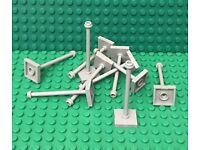 x10 New Light Bluish Gray LEGO Bar 6L w// Stop Ring Poles Antennas 63965