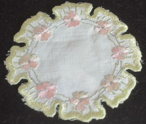 10 Vintage ARTS & CRAFTS DOILIES COCKTAIL Rounds Hand Embroidered VV196
