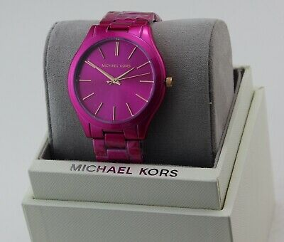 NEW AUTHENTIC MICHAEL KORS SLIM RUNWAY PINK WOMEN'S MK4414 WATCH