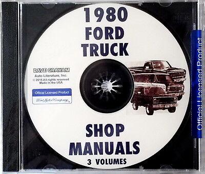 1980 Ford F150 F250 F350 Truck Bronco Econoline Service Manual Shop Repair CD