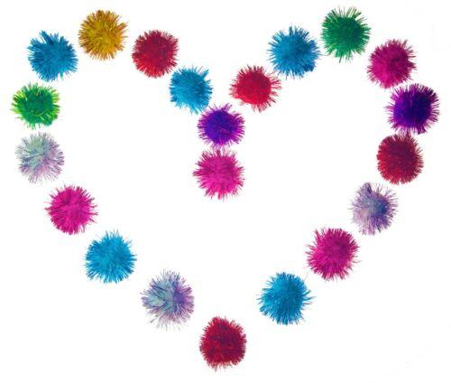 "20 Sparkle Glitter Tinsel Poms Balls 2"" Colorful Toys Bag Catnip Cats Kittens!"