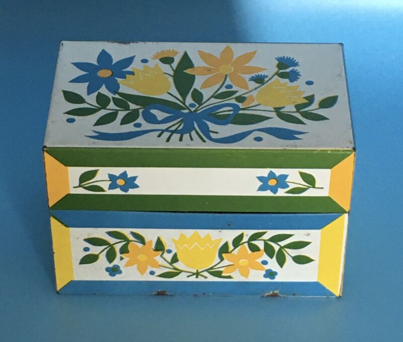 Vintage Syndicate Mfg. Co. Metal Recipe Box Green & Blue & White Floral