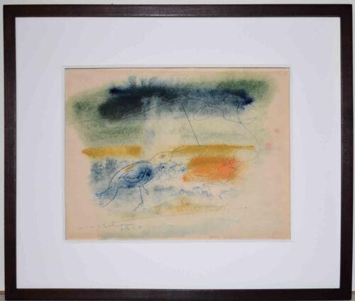 Listed American Modernist Artist Hugh Mesibov, Original Signed Watercolor & Ink