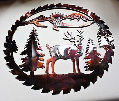 """Deer Mountain Saw Blade Metal Art 14"""""""