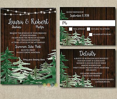 100 Personalized Wedding Invitations Rustic Pine Tree Holiday with Envelopes  - Tree Wedding Invitations
