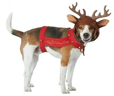Christmas Reindeer Horns Happy Holidays Grinch Sleigh Ride Dog Pet Red Costume