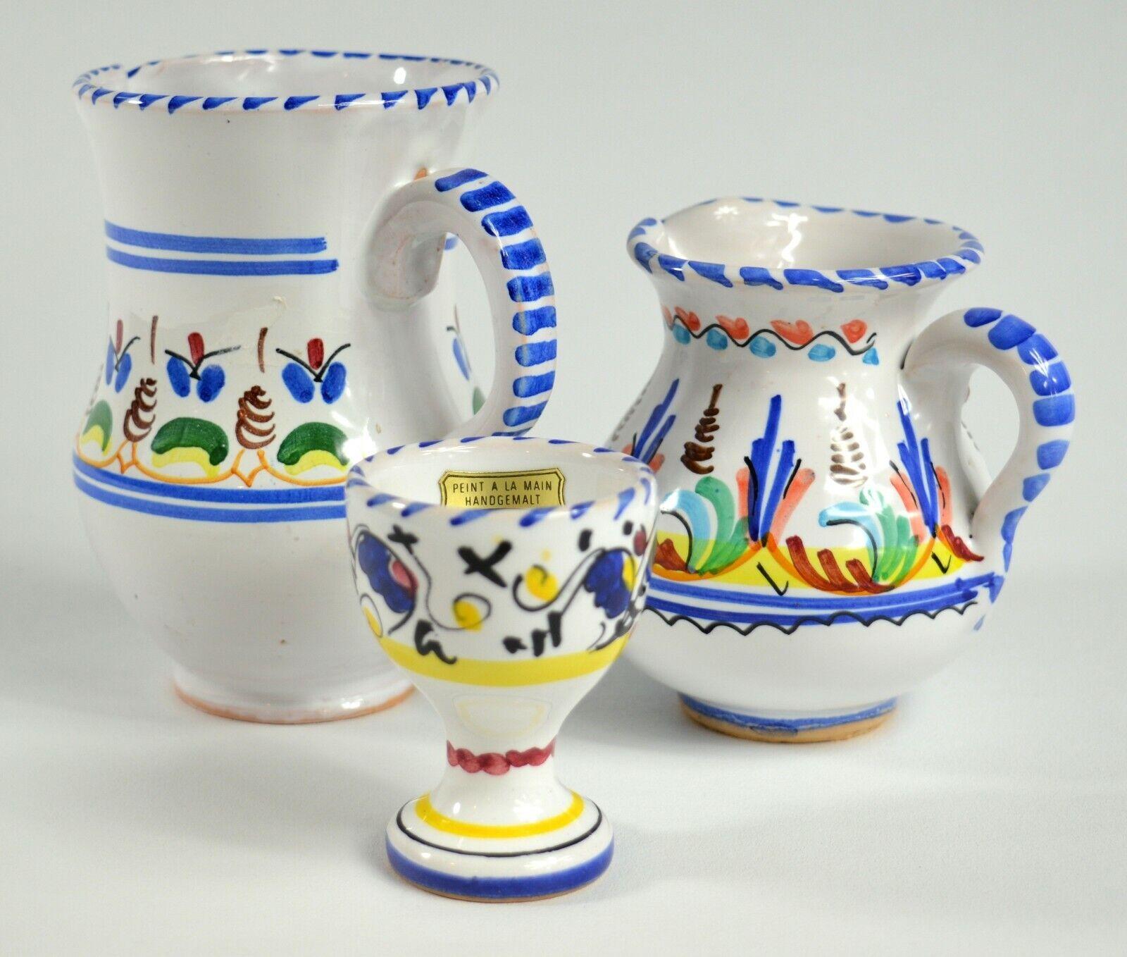 Lot Of Three Pottery Handpainted Small Pitcher / Creamer / HANGEMALT Egg Holder  - $13.99