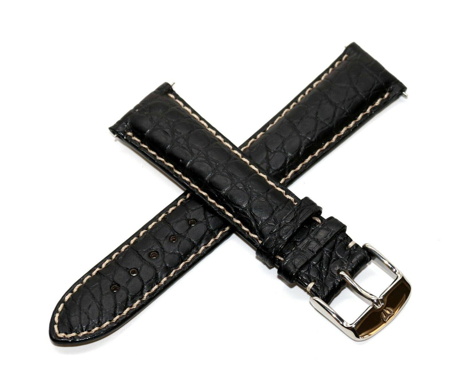 Rotary 21 mm Echt Alligator Leder Uhrenarmband Schwarz