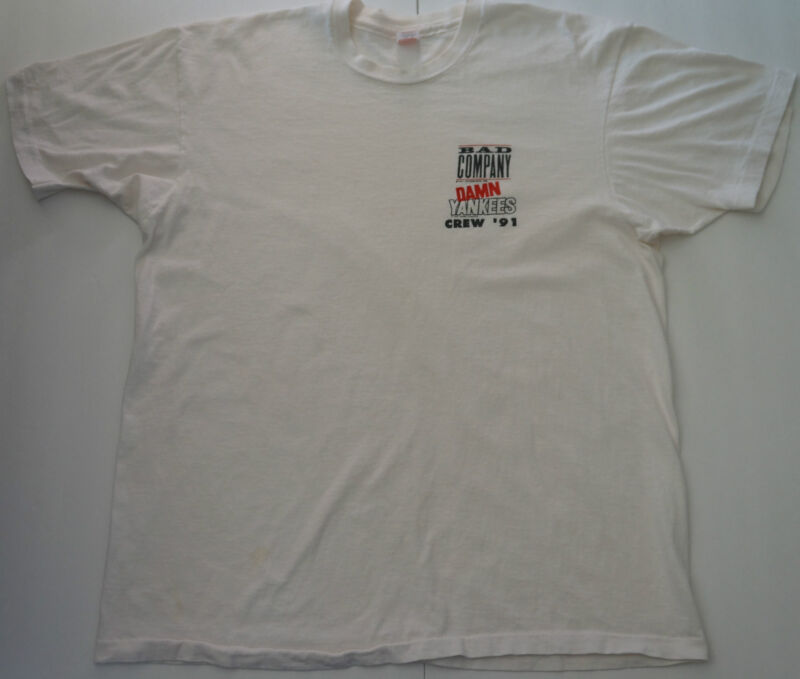 BAD COMPANY DAMN YANKEES Rare 1991 Crew Concert Tour T-Shirt Very Hard To Find