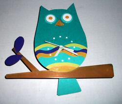 Oxidos Handcrafted Owl Clock w/Tail Swinging Pendulum Aqua Orange Metal Recycled
